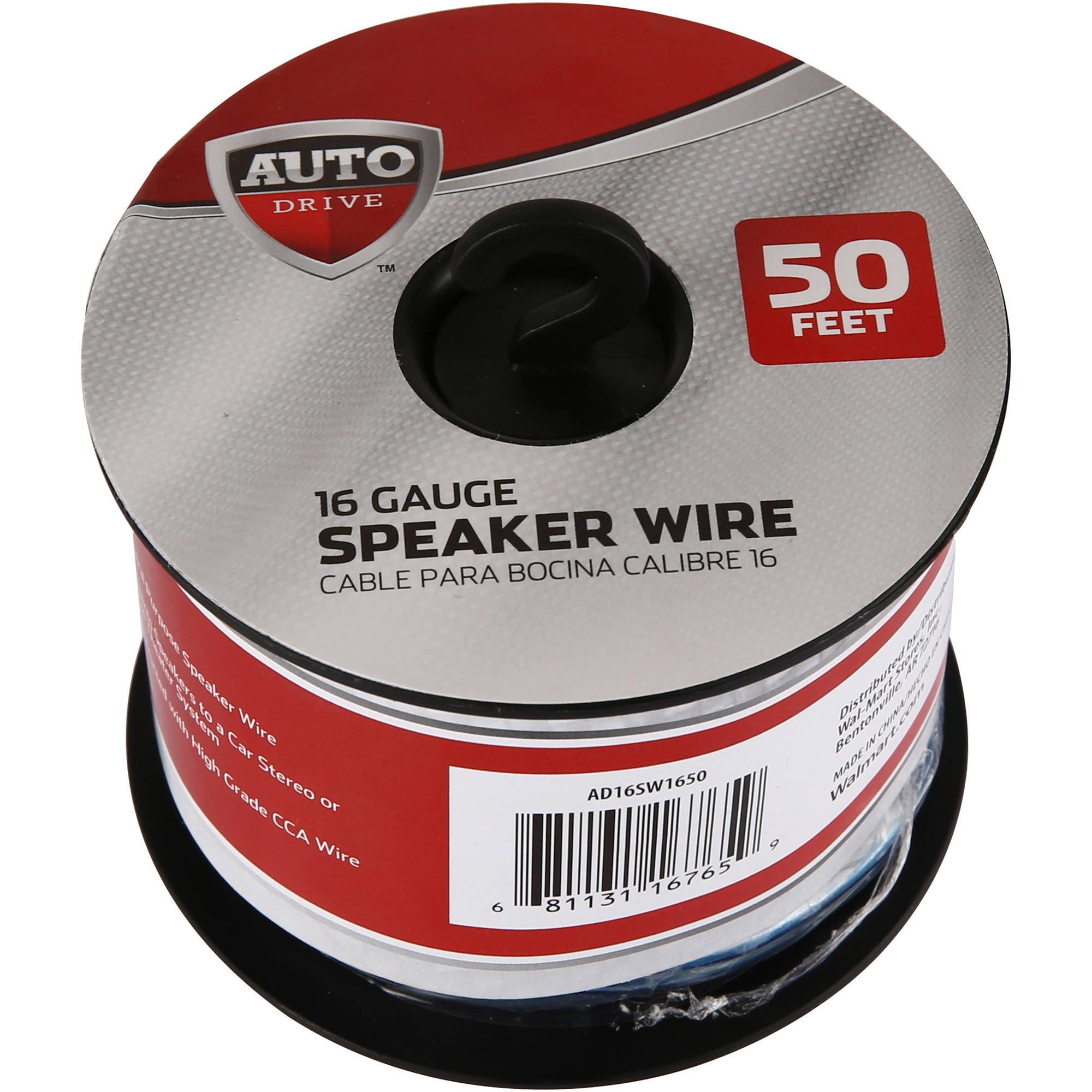 Auto Drive Car Stereo Speaker Wire, 16ga, 50\', 15.2m - Walmart.com