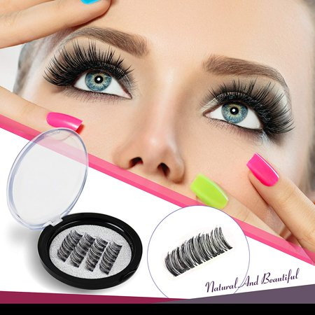 16fc9aa206b VASSOUL Dual Magnetic Eyelashes 0.2mm Ultra Thin Magnet Lightweight & Easy  to Wear Best 3D Reusable Eyelashes Extensions (4pcs) - Walmart.com