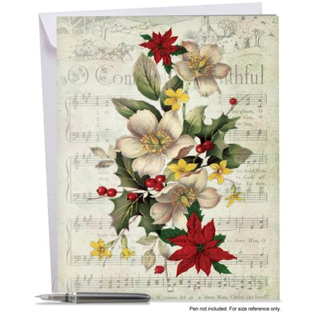 J6650DXTG Big Merry Christmas Greeting Card: 'Holly Notes Thank You' Featuring Festive Holiday Foliage Atop Vintage Christmas Carol Song Sheets, Greeting Card with Envelope by The Best Card Company ()