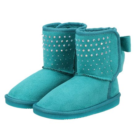 Girls Faux Suede Sherpa Lined Winter Boot with Sequins and Bow