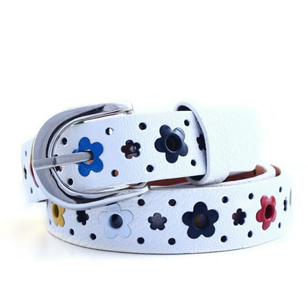 Toddler Girls Boys Candy Color Flower Belt Buckle PU Leather Kids Waistband ()