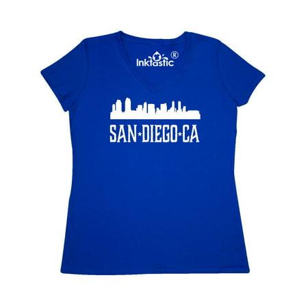 San Diego California Skyline CA Cities Women's V-Neck T-Shirt (Party City San Diego Ca)