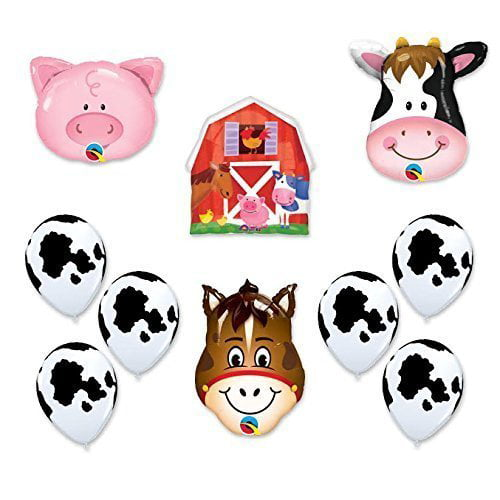 Barn Farm Animals Birthday Party Cow, Horse, Pig, Barn Balloons Decorations by