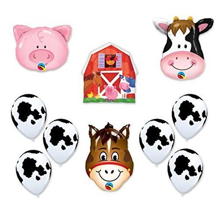 Barn Farm Animals Birthday Party Cow, Horse, Pig, Barn Balloons Decorations
