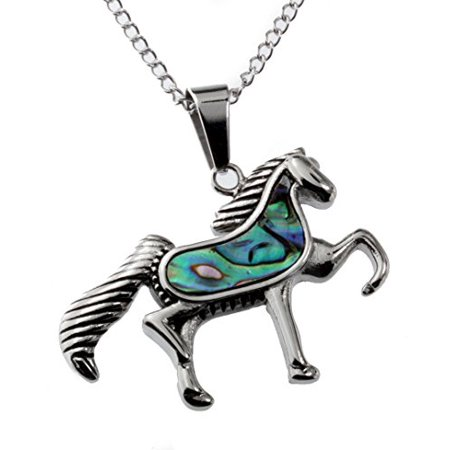 R H Jewelry Simulated Abalone Shell Inlaid Stainless Steel  Horse Design Pendant Necklace