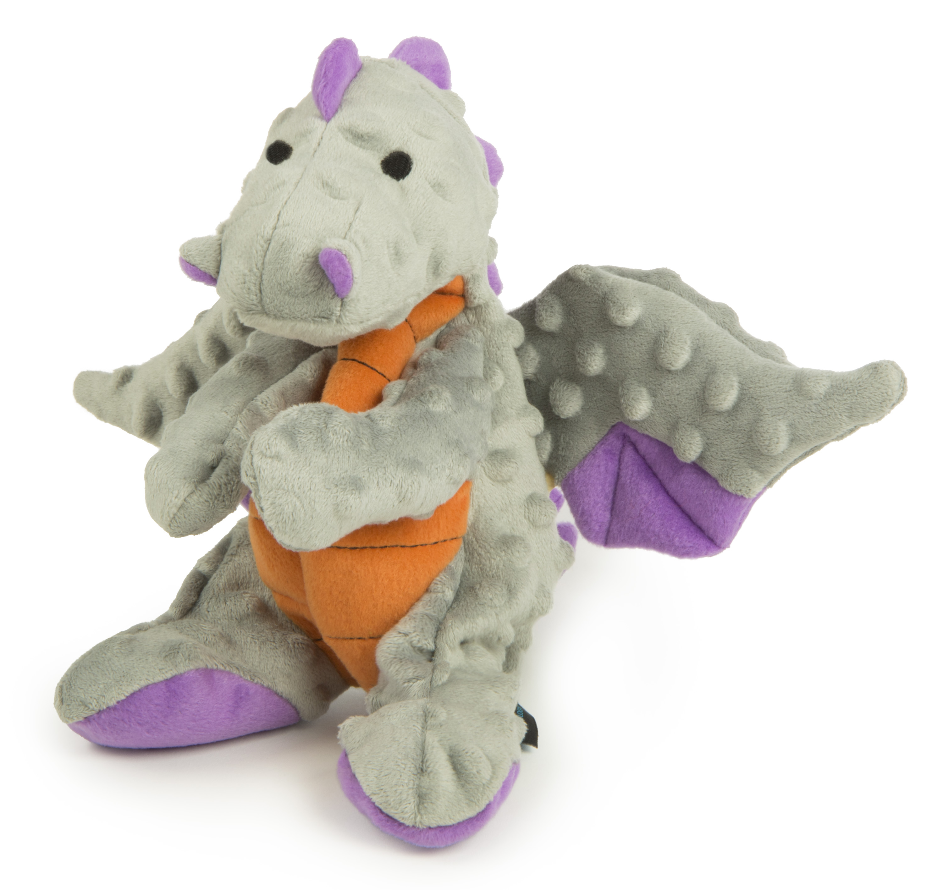 goDog® Dragons with Chew Guard Technology™ Plush Squeaker Dog Toy, Large, Gray