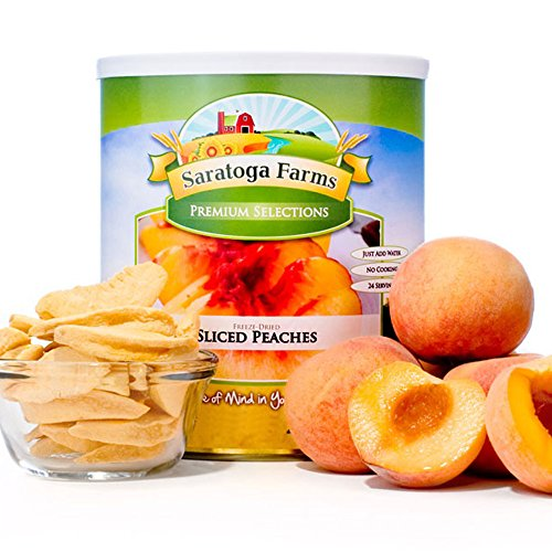 Saratoga Farms Freeze Dried Peach Slices, #10 Can, 9oz (255g), Real Fruit, Fruit Smoothies, Snack, Food Storage, Every Day Use by Saratoga Farms