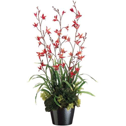 Tori Home 38'' Dendrobium and Succulents Floral Arrangement with Ceramic Pot