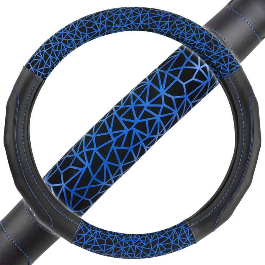 "New GripDrive Web Synthetic Leather Car Steering Wheel Cover Black with Blue Graffiti Lines, Comfort Grip, Standard, 14.5""-15.5"""