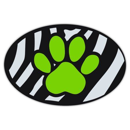 Oval Shaped Pet Magnets: Green Dog Paw (Dogs) | Cars, Trucks, Refrigerators