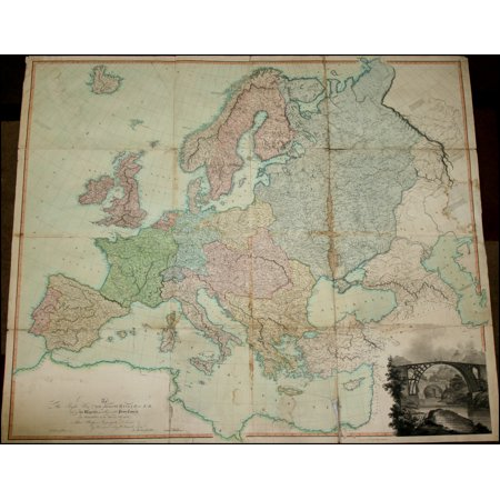 LAMINATED POSTER Map of Europe drawn from all of the Best Surveys and Rectified by Astronomical Observations POSTER PRINT 24 x