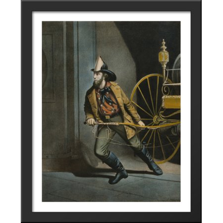The American Fireman. Always Ready 28x36 Large Black Wood Framed Print Art by Currier and Ives