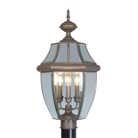 Outdoor Post 3 Light With Clear Beveled Glass Bronze size 24 in 180 Watts - World of Crystal