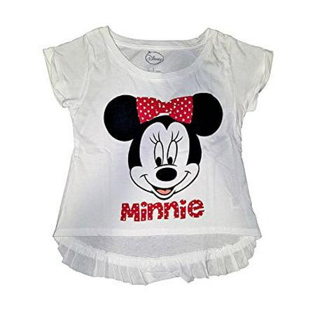 [P] Disney Girls' Minnie Mouse Big Face On Ruffle Fashion Top Tee Shirt (XL) - Minnie Face