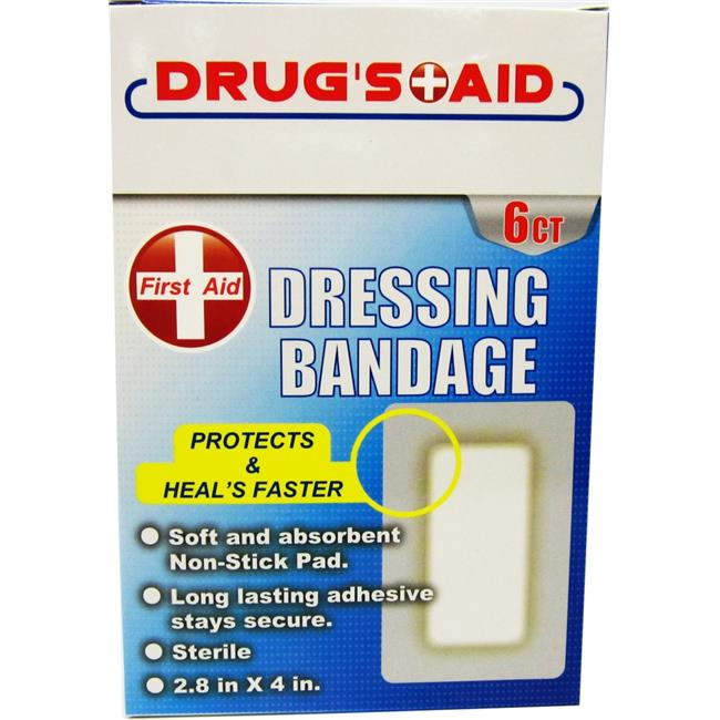 DDI 2316137 First Aid Dressing Bandages - 6 Count - Case of 48