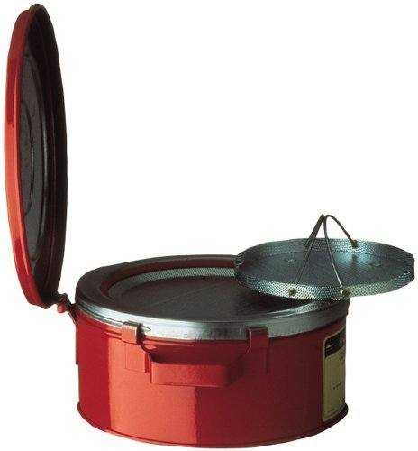 Bench Can,1 Gal.,Galvanized Steel,Red JUSTRITE 10370