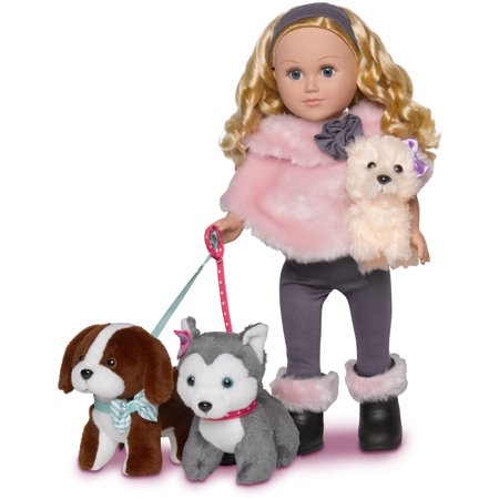 My Life As Doll-of-the-Year Dogwalker 18-inch Posable Doll with a Soft Torso, Blonde