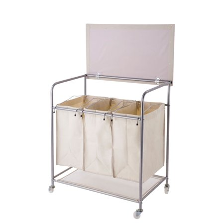 new laundry sorter hamper with ironing board and storage bags on wheels cart. Black Bedroom Furniture Sets. Home Design Ideas