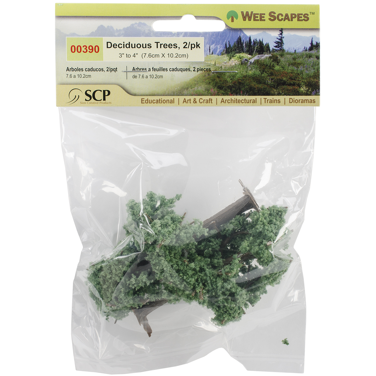 """Wee Scapes 3"""" & 4"""" Light Green Deciduous Trees 2-Pack"""