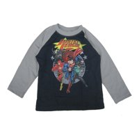 s Little Boys Grey Navy Justice League Print Long Sleeved Shirt 2T-5