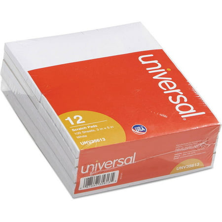 (2 Pack) Universal Scratch Pads, Unruled, 3 x 5, White, 100 Sheets, 12/Pack -UNV35613 - Pastel Scratch Pad