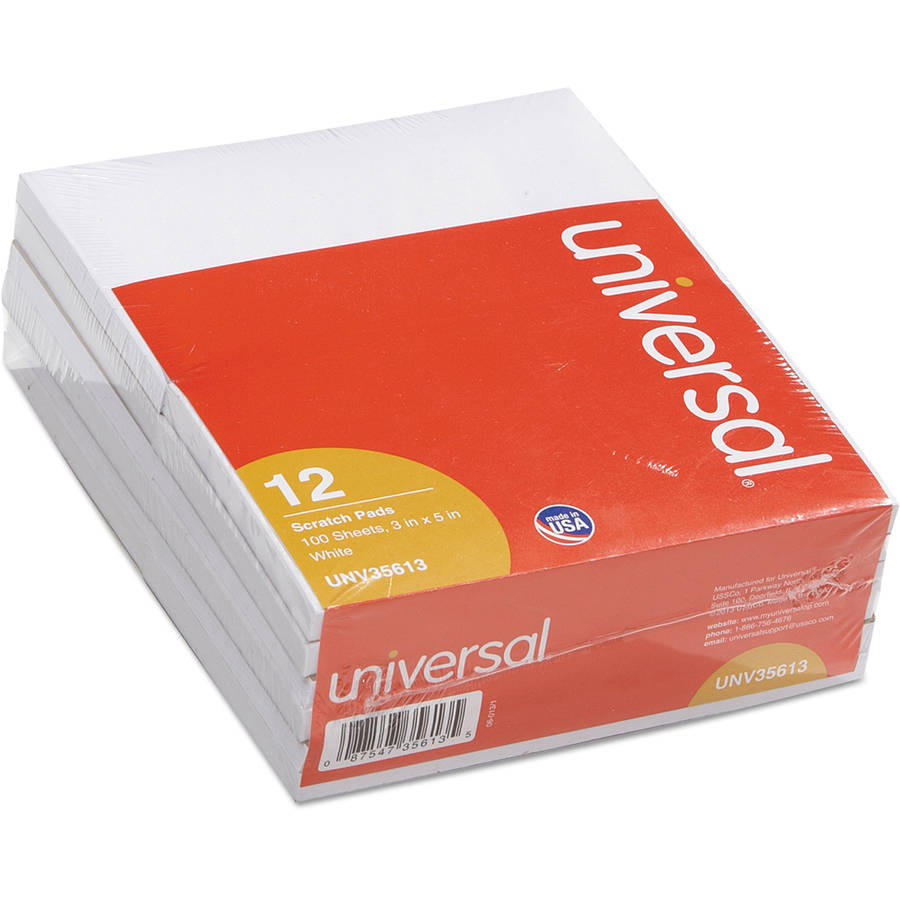 Universal Scratch Pads, Unruled, 3 x 5, White, 100 Sheets, 12/Pack -UNV35613