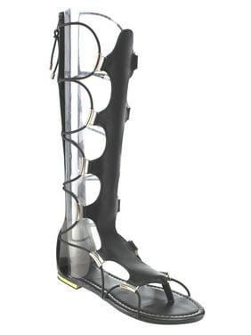 d5373d7aaf8c Product Image Beston Women s DC05 Cut Out Back Zipper Thong Flat Knee High  Gladiator Sandals