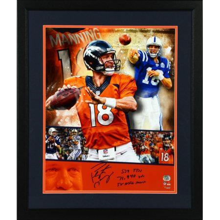 Peyton Manning Hand Signed - Peyton Manning Indianapolis Colts/Denver Broncos Deluxe Framed Autographed 16