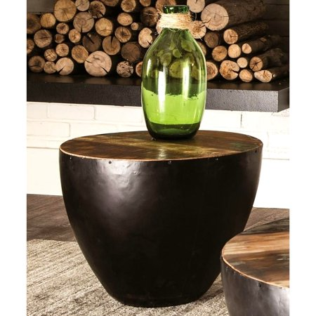 A Line Furniture Black Iron Drum Shaped Accent End Table with Natural Reclaimed Wood Top ()