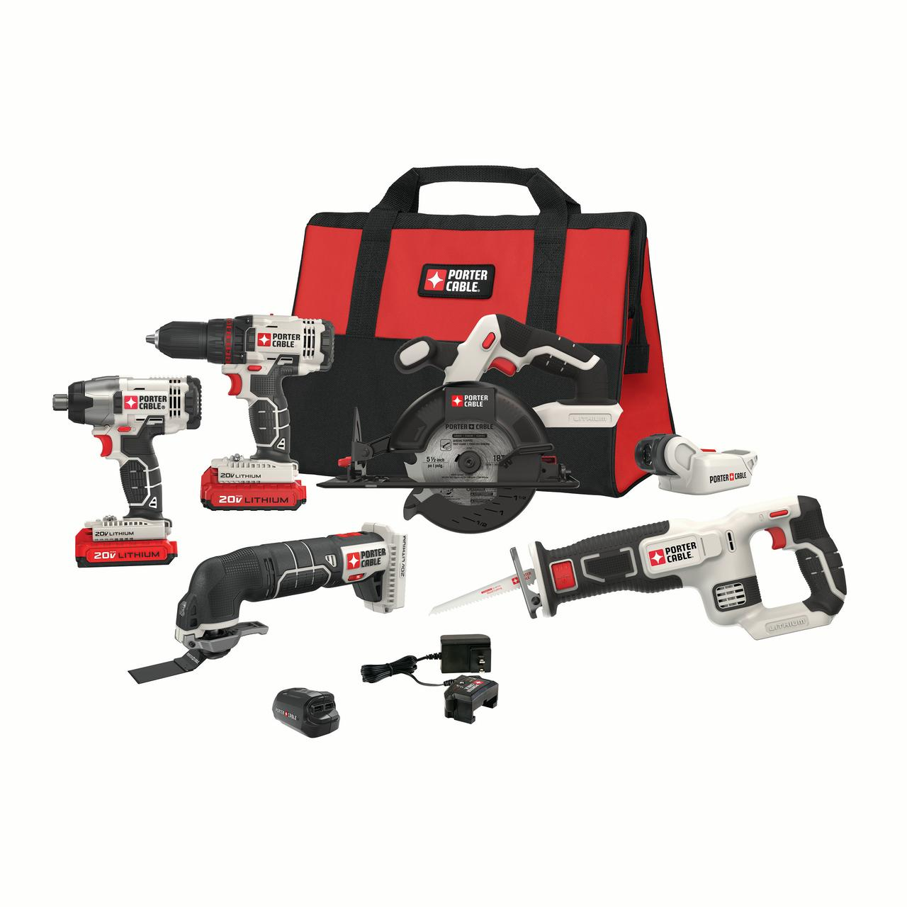 PORTER CABLE PCCK617L6 20V MAX Lithium-Ion 6 Tool Combo Kit