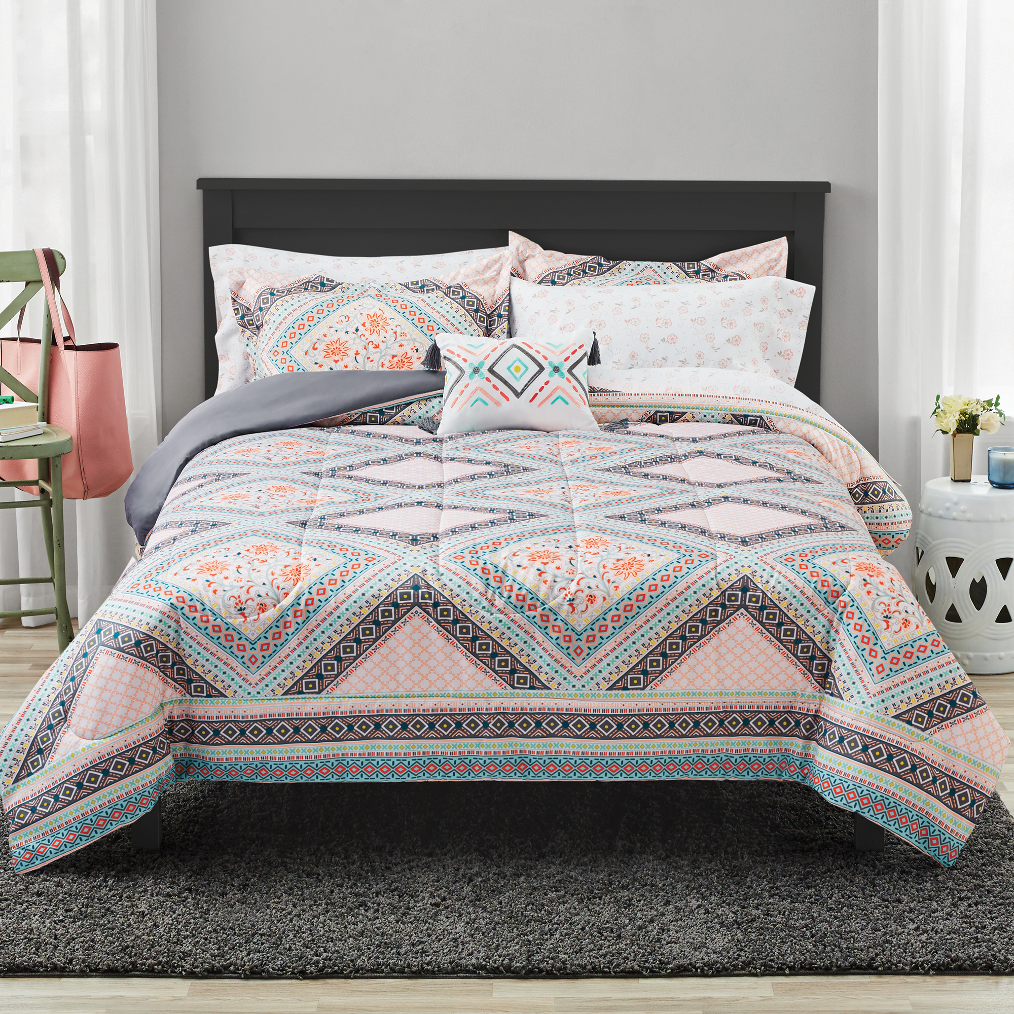 Mainstays Diamond Floral Bed In a Bag Comforter Bedding