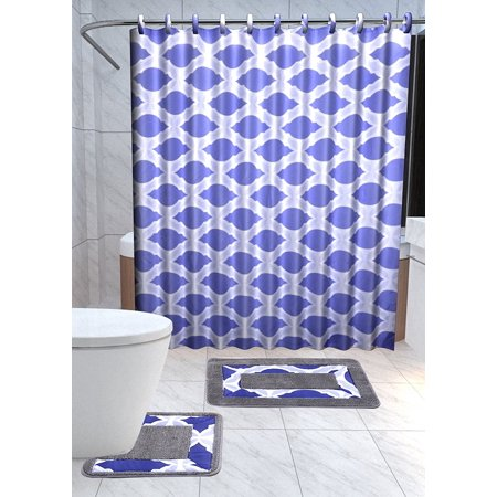 gorgeoushomelinen 15 piece thea navy blue bathroom non slip bath mat toilet contour rug fabric. Black Bedroom Furniture Sets. Home Design Ideas