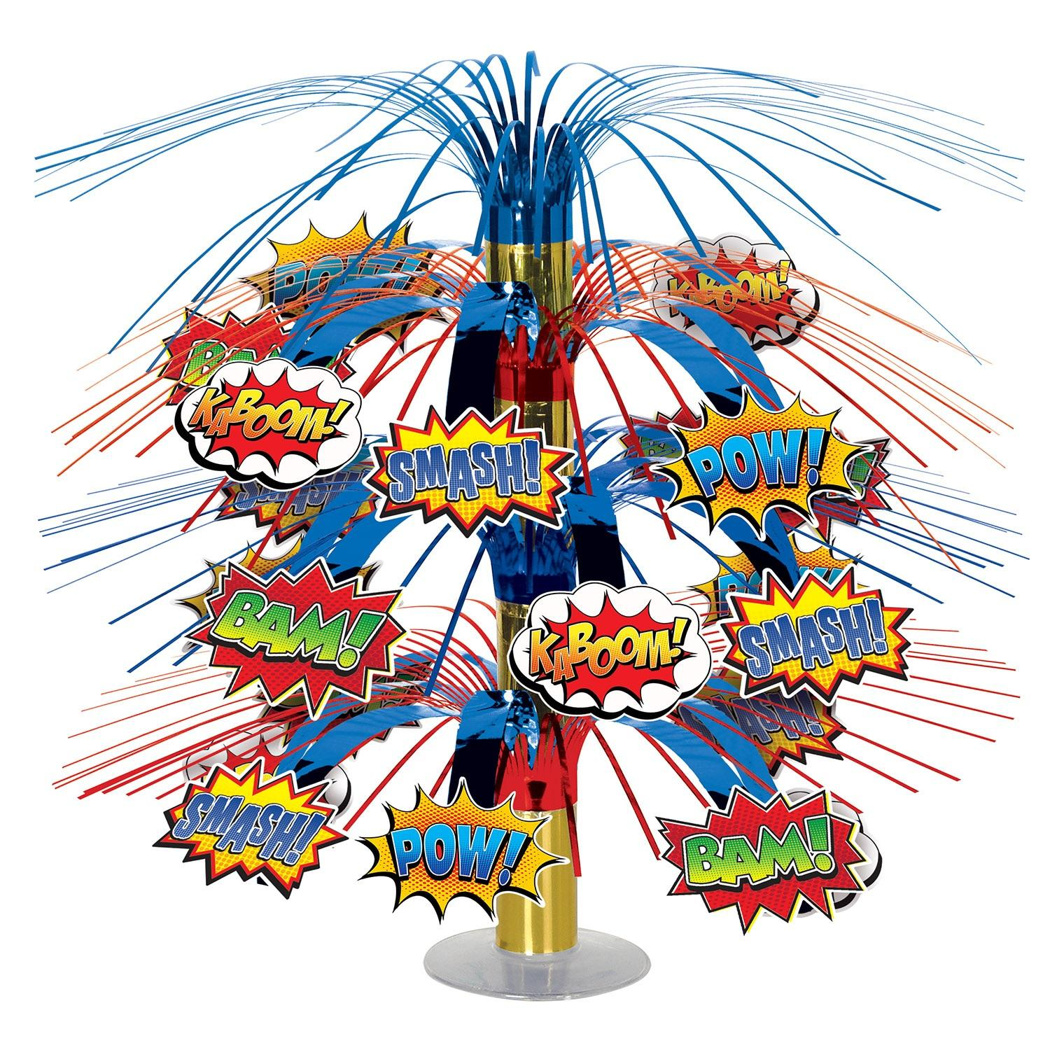 Club Pack of 6 Red and Blue Action Hero Cartoon Cascading Centerpiece 18""