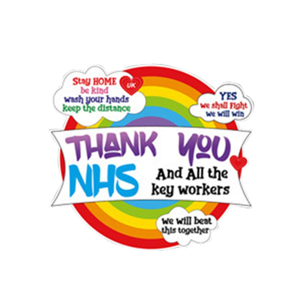 Rainbow Window C Wall Sticker Thank You NHS And Key Workers Charity Decal