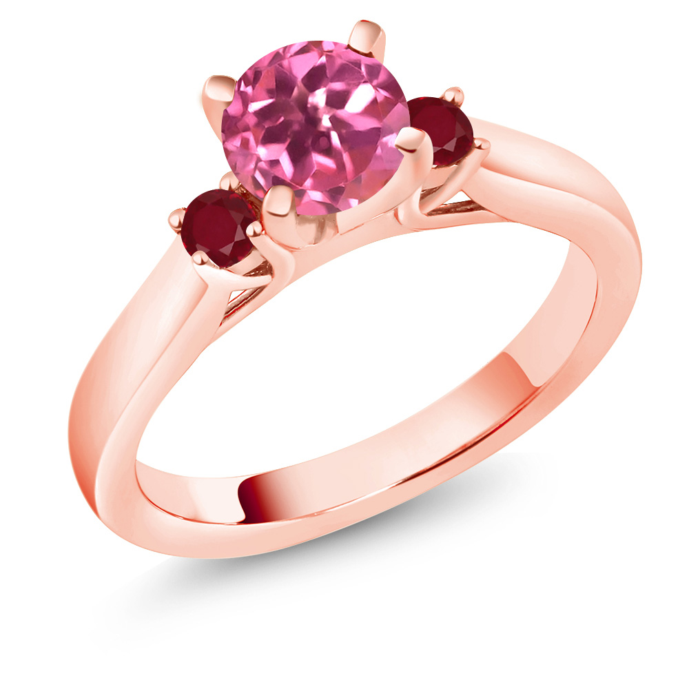 1.28 Ct Round Pink Mystic Topaz Red Ruby 14K Rose Gold 3-Stone Ring by