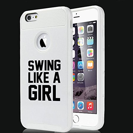 For Apple (iPhone 8) Shockproof Impact Hard Soft Case Cover Swing Like A Girl Golf Softball Kettlebell (Best Kettlebell Iphone App)