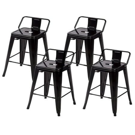 Phenomenal 24 Metal Frame Tolix Style Bar Stools Industrial Chair With Back Set Of 4 Pabps2019 Chair Design Images Pabps2019Com