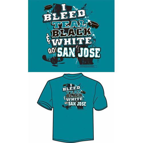"San Jose Hockey ""I Bleed Teal, Black and White, Go San Jose"" T-Shirt, Teal"