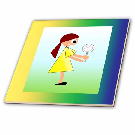 3dRose Image of Girl with Lollipop In Blue Green Yellow Frame - Ceramic Tile, 6-inch ()