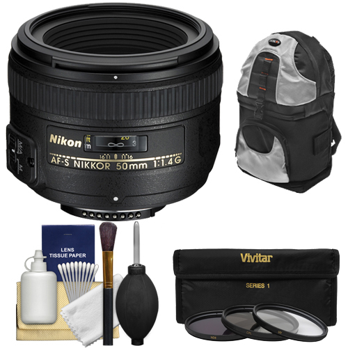 Nikon 50mm f/1.4G AF-S Nikkor Lens with Sling Backpack + 3 Filters + Kit for D3200, D3300, D5300, D5500, D7100, D7200, D750, D810 Cameras