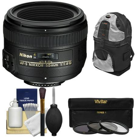 Nikon 50mm f/1.4G AF-S Nikkor Lens with Sling Backpack + 3 Filters + Kit for D3200, D3300, D5300, D5500, D7100, D7200, D750, D810 (Best Portrait Lens For Nikon D3200)
