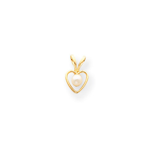 Jewelryweb 14k 3mm Cultured Pearl Heart Childrens Necklace