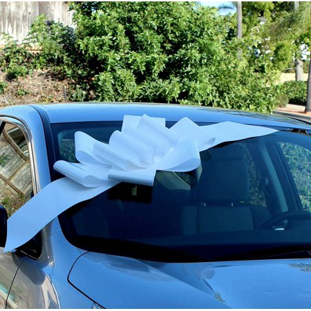 Big White Car Bow Ribbon - Large Gift Decoration, Fully Assembled, 25