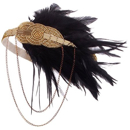 Black Gold Headpiece Vintage Style 1920s Headband Flapper Great Gatsby](Flapper Headbands)
