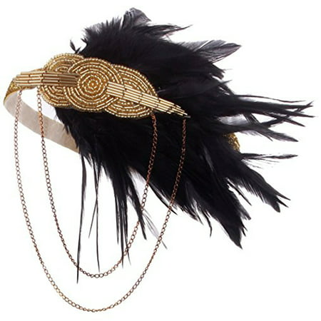 Black Gold Headpiece Vintage Style 1920s Headband Flapper Great Gatsby - Cheap Great Gatsby Headpiece