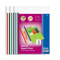 Clear Front Report Covers w/ Sliding Bar (3/Pack) (3197), Sliding bar colors come in black, white, red, green and blue By Bazic