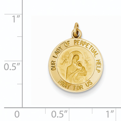 14k Yellow Gold Our Lady Of Perpetual Help Medal Pendant Charm Necklace Religious Fine Jewelry Gifts For Women For Her - image 1 de 2