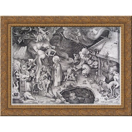 James the late emperor of the Devil is stopped the illusions of a magician  24x18 Gold Ornate Wood Framed Canvas Art by Pieter Bruegel the Elder