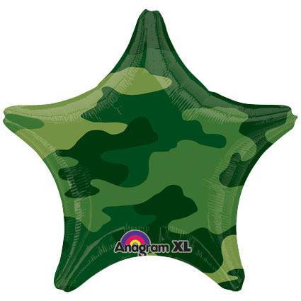 """Army Camo Star 19"""" Balloon (Each) - Party Supplies"""