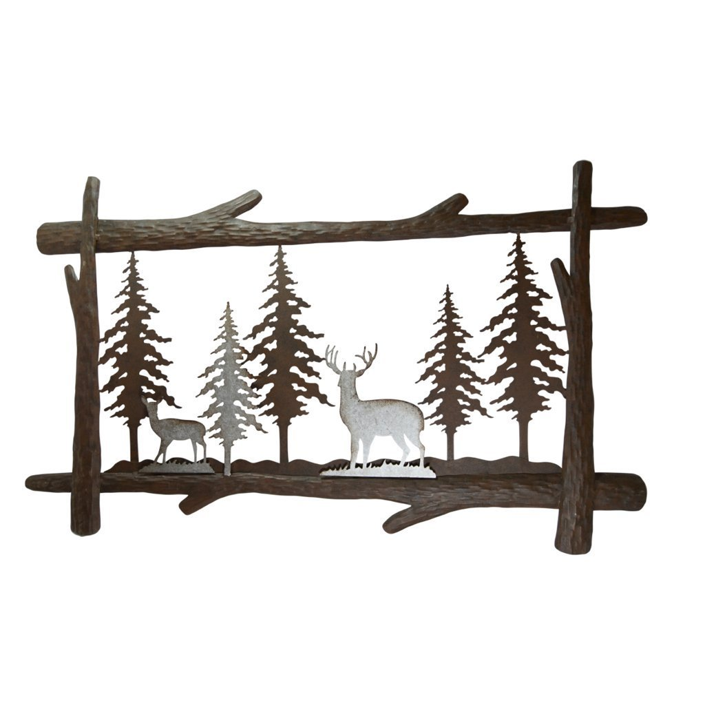Pine Ridge Mother and Son Deer Scan with Metal Broader Wall Art - Christmas Handcrafted Wall Hanging Home Decor - Christmas Holiday Decorations